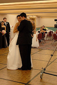 Video camera stand on dance floor.