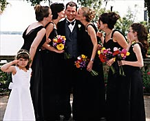 Ah the forbidden kiss of the bridesmaids!
